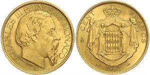 100 Франк Монако Золото Карл III князь Монако (1818-1889)