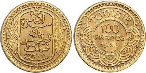 100 Франк Тунис Золото