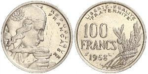 100 Франк French Fourth Republic  (1946-1958) Нікель/Мідь