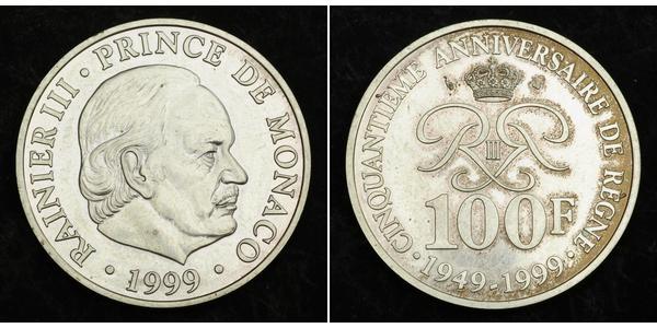 100 Франк Монако Серебро Ренье III (князь Монако)