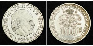 100 Франк Монако Срібло Реньє III