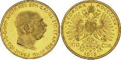 100 Corona Австро-Угорщина (1867-1918) Золото Франц Иосиф I (1830 - 1916)