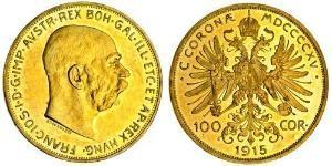 100 Corona Imperio austrohúngaro (1867-1918) Oro Franz Joseph I (1830 - 1916)