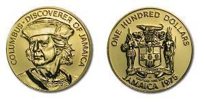 100 Dólar Jamaica (1962 - ) Oro Cristóbal Colón (1451 - 1506)