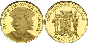 100 Dollar Jamaica (1962 - ) Gold Christopher Columbus (1451 - 1506)