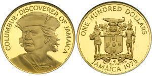 100 Dollar Jamaica (1962 - ) Gold Christopher Columbus (1451 - 1506)