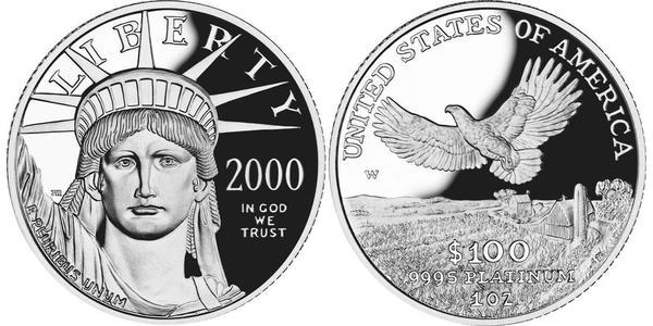 100 Dollar USA (1776 - ) Platinum
