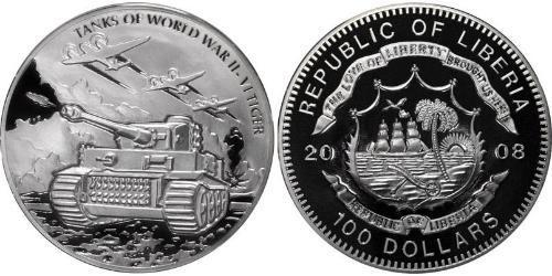 100 Dollar Liberia Silver