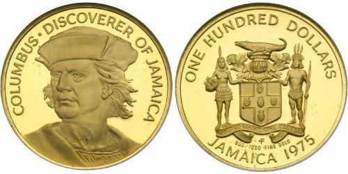 100 Dollaro Giamaica (1962 - ) Oro Cristoforo Colombo (1451 - 1506)
