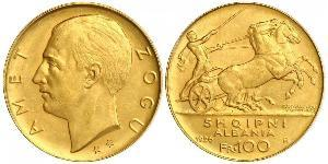 100 Franc 阿尔巴尼亚共和国 (1925-1928) (1925 - 1928) 金 Zog I, Skanderbeg III of Albania