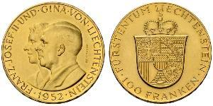 100 Franc Liechtenstein 金 Franz Joseph II, Prince of Liechtenstein (1938 - 1989)