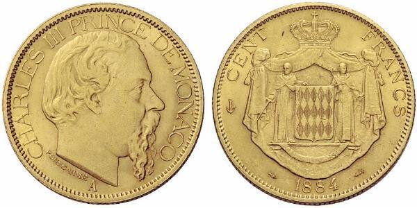 100 Franc Monaco 金 Charles III Prince of Monaco (1818-1889)