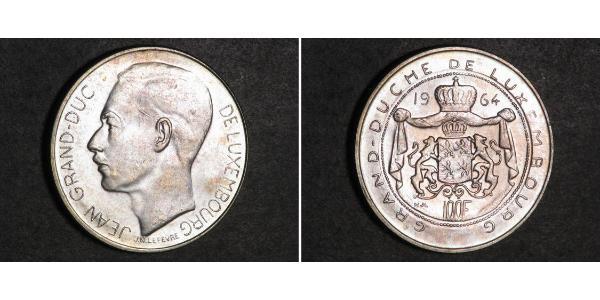100 Franc Lussemburgo Argento Giovanni di Lussemburgo (1921 - )