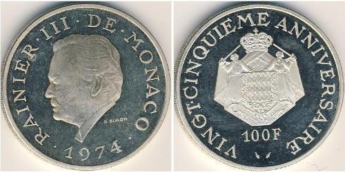 100 Franc Principato di Monaco Argento Ranieri III di Monaco