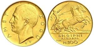 100 Franc Albanian Republic (1925-1928) Gold Zog I, Skanderbeg III of Albania