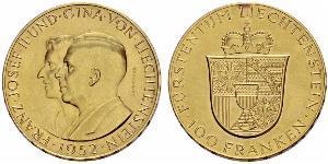 100 Franc Liechtenstein Gold Franz Joseph II, Prince of Liechtenstein (1938 - 1989)