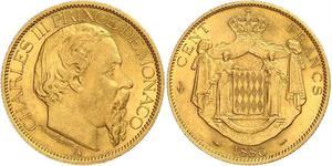 100 Franc Monaco Gold Charles III Prince of Monaco (1818-1889)