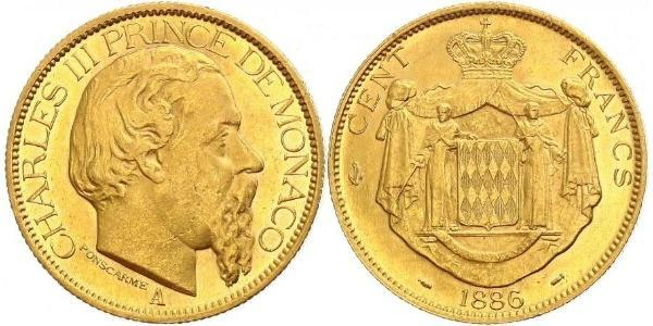 100 Franc Monaco Gold Charles III. von Monaco (1818-1889)