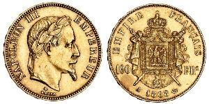 100 Franc Second French Empire (1852-1870) Gold Napoleon III (1808-1873)