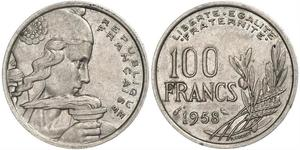 100 Franc Vierte Französische Republik (1946-1958) Kupfer/Nickel