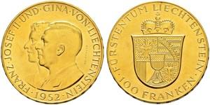 100 Franc Liechtenstein Or Franz Joseph II, Prince of Liechtenstein (1938 - 1989)