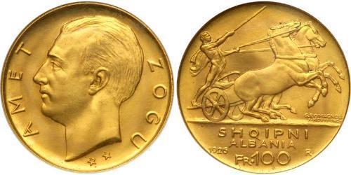 100 Franc Albanian Republic (1925-1928) Oro Zog I, Skanderbeg III of Albania