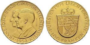 100 Franc Liechtenstein Oro Franz Joseph II, Prince of Liechtenstein (1938 - 1989)