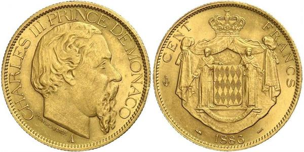 100 Franc Mónaco Oro Carlos III de Mónaco (1818-1889)