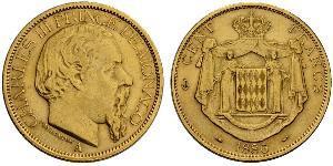 100 Franc Principato di Monaco Oro Carlo III di Monaco (1818-1889)