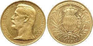 100 Franc Principato di Monaco Oro Albert I, Prince of Monaco (1848 - 1922)
