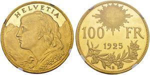 100 Franc Suiza Oro