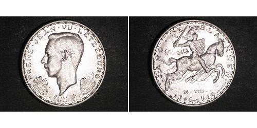 100 Franc Luxemburgo Plata