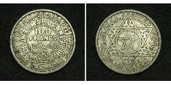 100 Franc Marruecos Plata Mohámed V de Marruecos (1909 - 1961)