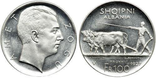 100 Franc Albanian Republic (1925-1928) Platin Zog I, Skanderbeg III of Albania