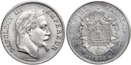 100 Franc Segundo Imperio francés (1852-1870) Platino Napoleon III (1808-1873)