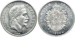 100 Franc Second French Empire (1852-1870) Platinum Napoleon III (1808-1873)