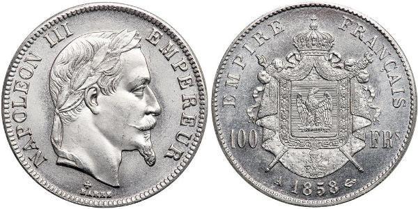 100 Franc Second French Empire (1852-1870) Platinum Napoleon III (1808-1873)
