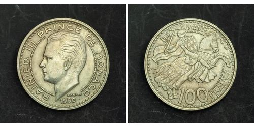 100 Franc Principato di Monaco Rame/Nichel Ranieri III di Monaco