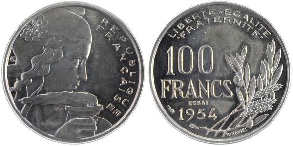 100 Franc Quarta Repubblica francese (1946-1958) Rame/Nichel