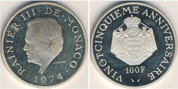 100 Franc Monaco Silver Rainier III, Prince of Monaco