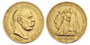 100 Korona Autriche-Hongrie (1867-1918) Or Franz Joseph I (1830 - 1916)