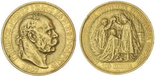 100 Korona Imperio austrohúngaro (1867-1918) Oro Franz Joseph I (1830 - 1916)