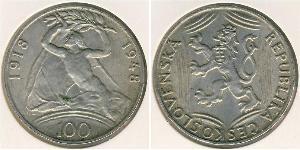 100 Krone Cecoslovacchia  (1918-1992) Argento