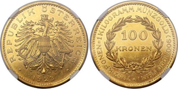 100 Krone First Austrian Republic (1918-1934) Gold