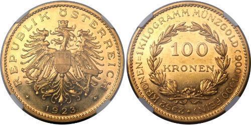 100 Krone Prima repubblica austriaca (1918-1934) Oro