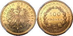 100 Krone Primera República de Austria (1918-1934) Oro