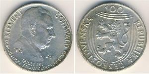 100 Krone Checoslovaquia  (1918-1992) Plata