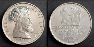 100 Krone Tschechoslowakei  (1918-1992) Silber Karl IV, Römisch-deutscher Kaiser (1316-1378)