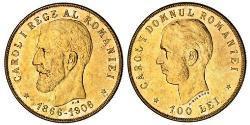 100 Leu Königreich Rumänien (1881-1947) Gold Karl I. (Rumänien) (1839 - 1914)