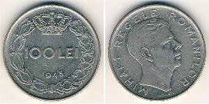 100 Leu Royaume de Roumanie (1881-1947) Acier/Nickel Michel Ier de Roumanie (1927-)
